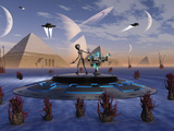 A Grey Alien Visits the Site of Three Pyramids on an Alien World