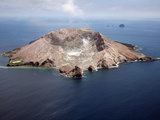 Aerial View of White Island Volcano with Central Acidic Crater Lake  Bay of Plenty  New Zealand