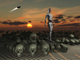 An Android Walks Amongst a Pile of Skulls on the Planet Earth