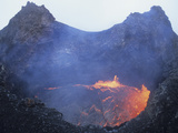 Small Lava Lake in Pit Crater  Pu'u O'o Cone  Kilauea Volcano  Big Island  Hawaii