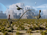 A Pair of Compsognathus Dinosaurs Startled by an Approaching Helicopter