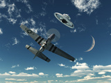 An American P-51 Mustang Gives Chase to a UFO