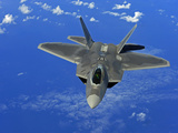 A US Air Force F-22 Raptor in Flight Near Guam