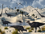 Dinosaurs Gather at a Life Saving Oasis