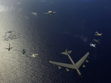 A US Air Force B-52 Stratofortress Aircraft Leads a Formation of Aircraft