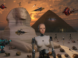 Artist's Concept of the Pyramids and Sphinx Being Built by an Advanced Alien Race