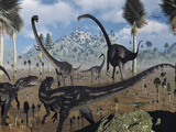 Two Allosaurus Predators Plan their Attack on a Young Omeisaurus