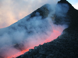 Lava Flowing from Base of Hornito During Eruption of Mount Etna Volcano  Sicily  Italy