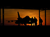 Silhouette of a Chilean Air Force F-16C Block 50 at Natal Air Force Base  Brazil