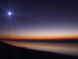 The Moon and Venus at Twilight from the Beach of Pinamar  Argentina