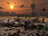 Artist&#39;s Concept of a Science Fiction Alien Landscape