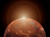 Artist's Concept of a Distant Red Planet Orbiting its Sun