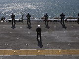 Sailors Man the Rails on the AmphibioUS Assault Ship USS Essex