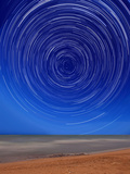 Star Trails around the South Celestial Pole at the Beach in Miramar  Argentina
