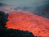 Lava Flow During Eruption of Mount Etna Volcano  Sicily  Italy