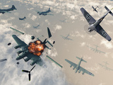 B-17 Flying Fortress Bombers Encounter German Focke-Wulf 190 Fighter Planes
