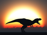A T Rex Silhouetted Against the Setting Sun at the End of a Prehistoric Day