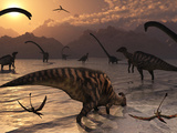 Omeisaurus and Parasaurolphus Dinosaurs Gather Together