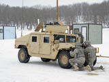 US Soldiers Take Cover Behind a Humvee During Combat Support Training Exercises