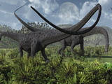 Two Giant Diplodocus Herbivore Dinosaurs Grazing During the Jurassic Period on Earth