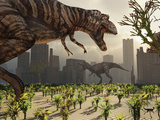 A Pair of Tyrannosaurus Rex Explore a City in Hopes of Finding their Next Meal