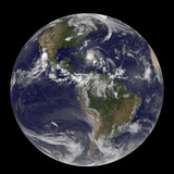 August 24  2011 - Satellite View of the Full Earth with Hurricane Irene Visible over the Bahamas