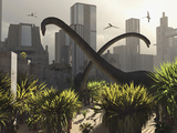 Omeisaurus Sauropods Explore a Mysterious City Which Has Shifted in Time