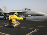 A Shooter Launches an F/A-18E Super Hornet from USS Dwight D Eisenhower