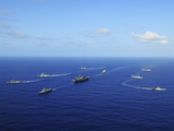 Ships from the Ronald Reagan Carrier Strike Group Transit the Pacific Ocean