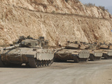 Israeli Defense Force Merkava Mark IV Battle Tanks En Route to Lebanon
