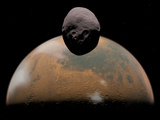 Artist's Concept of Mars and its Tiny Moon Phobos