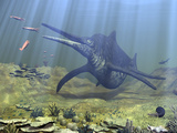 A Massive Shonisaurus Attempts to Make a Meal of a School of Squid-Like Belemnites