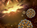 Buckyballs Floating in Interstellar Space Near a Region of Current Star-Formation