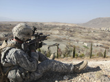 US Army Soldier Scans His Sector of Fire with His M14 Rifle in Afghanistan