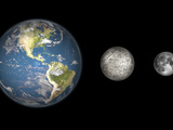 Artist's Concept of the Earth  Mercury  and Earth's Moon to Scale