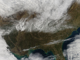 Snow Cover Stretching from Northeastern Texas to the Carolinas