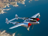 A Lockheed P-38 Lightning Fighter Aircraft in Flight
