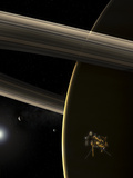 The Cassini Spacecraft in Orbit around the Planet Saturn During Sunrise