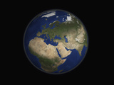 Full Earth View Showing Africa  Europe  the Middle East  and India