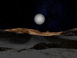 The Surface of Pluto with Charon in the Sky
