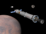 The Phobos Mission Rocket Prepares for Approach to the Martian Moon