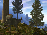 A Pair of Allosaurus Search for a Meal Along a Mountainside Forest