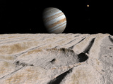 Artist's Concept of an Impact Crater on Jupiter's Moon Ganymede  with Jupiter on the Horizon