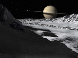 Saturn&#39;s Moon  Tethys  Is Split by an Enormous Valley Called Ithaca Chasma