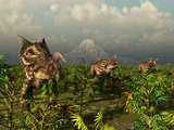 A Herd of Plant-Eating Einiosaurus Roam the Plains