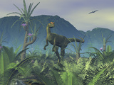 A Colorful Adult Male Dilophosaurus Explores a Hilltop