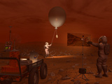 Astronauts Release a Weather Balloon on the Surface of Titan