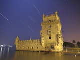 The Sirius Star and Constellation Orion Setting Behind the Bélem Tower in Lisbon  Portugal