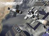 Artist's Concept of a Trans-Lunar Space Tug Departing the International Space Station