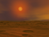 Artist&#39;s Concept of Teide 1 from the Surface of a Hypothetical Mars-Like Planet